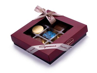 9 chocolates box with ribbon-